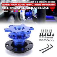Universal Steering Wheel Quick Release HUB Racing Adapter Snap Off Boss Blue Kit