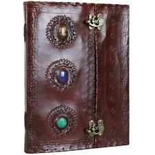 """3 Stone Leather Journal Handmade Notebook Diary Blank - 10"""" X 13""""- Multi-Colour"""