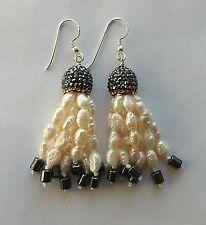 Orecchini nappa nappina perle di fiume coppetta pavè strass ematite Argento 925