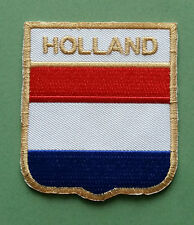 NATIONAL FLAG COUNTRY SHIELD SEW ON / IRON ON EMBROIDERED PATCH:- HOLLAND