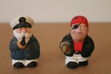 More details for 2 vintage pottery figures - sea captain & pirate 6.5cms high