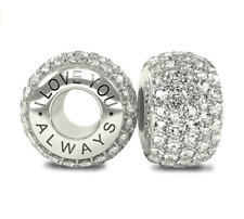 Luxurious Solid Sterling Silver 925 White CZ Austrian Crystals Pave Bead Charm