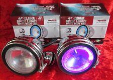 PAIR Of Blue Chrome Angel Eye Spotlights Car Bike Motorcycle 4x4 Halogen Bulbs