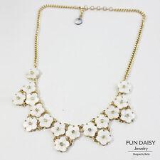 Collar Mujer Flor de Nácar Blanco Natural Cristal Boda Noche FUN 3