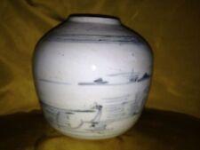 Antico Ming cinese Blu & Bianco Ceramica Porcellana firmato