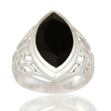 Marquise Cut Black Onyx Gemstone Ring, 925 Sterling Silver Gemstone Jewelry Ring
