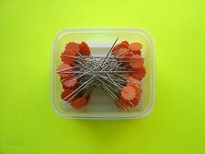 "50 Dritz Orange Flower Head Pins - 1 3/4"" Long Shaft - 2 1/8"" Overall Length"