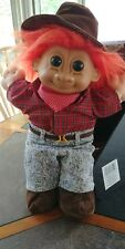 "Vintage Russ Troll Farmer Orange Hair 12"" Plush Doll Cloth Body Vinyl Head #2369"