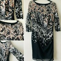 MINT VELVET Black Silk Ombre Pencil Occasion Dress 12 Sheer 3/4 Slv Spring Smart
