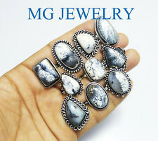 500 Pcs Lot Natural Dendritic Opal Ring .925 Sterling Silver Plated