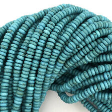 """4mm blue turquoise rondelle beads 15.5"""" strand"""