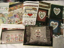Lot of 15 COUNTRY ANGELS cross stitch graphs *RARE & OOP* 1980-1990's craft MAGS