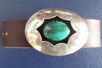Sterling silver concho bracelet, leather strap, polished malachite in shadowbox