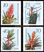 EBS East Germany DDR 1988 - Flowers: Bromeliads - Michel 3149-3152 MNH**