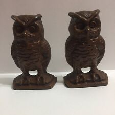 EMIG 1546 Owl Bookends Door Stops Cast Iron Marked