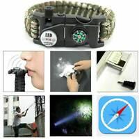 Paracord Bracelet LED Flint Fire Starter Compass Whistle Knife Outdoor Brandnew