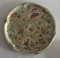 Vintage Daher Decorated Ware Round Tin Metal Tray Lattice Floral Made in England