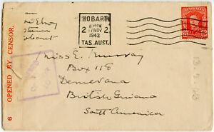 AUSTRALIA WW2 CENSORED to BRITISH GUIANA TASMANIA 2 1/2d 1942 ...EX DRUCKER