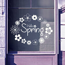 Hello Spring Time Greetings Vinyls Shop Window Display Wall Decals Stickers B14
