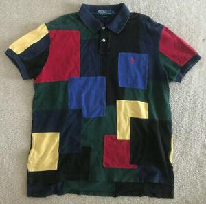Vtg Ralph Lauren Polo Shirt 90s Color Block Patchwork Men's Large L Rare Multi