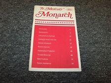 1976 Mercury Monarch Sedan Original Owner Owner's Operator Guide Manual V6 V8