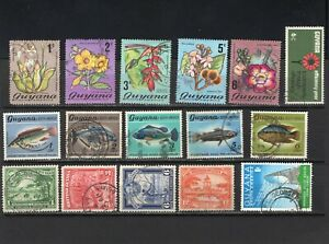 British Guyana and Guyana stamps, 1938-1971, 16 used stamps, part sets