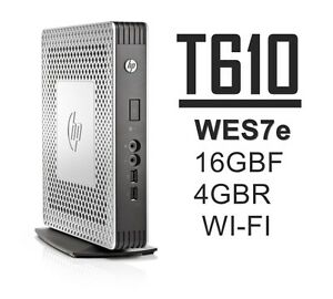 HP t610 Thin Client WIFI 16GB-F 4GB-R WES7e C1C06UA#ABA w/PS+Stand - Lot Avail