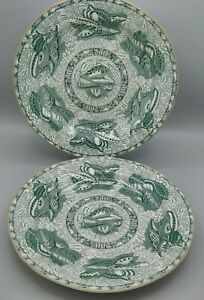 "2 Torquay Mottahedeh Winterthur 10.5"" Dinner Plate Green Transferware Sea shells"