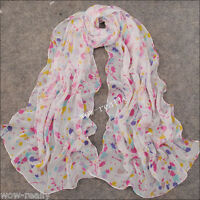 Summer New Style Women's Georgette Chiffon Long Wrap Shawl Beach Colorful Scarf