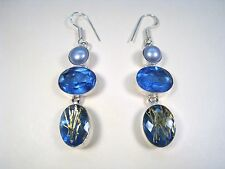 BLUE GOLDEN RUTILE, RIVER PEARL & 16.24 CTW IOLITE EARRINGS 925 STERLING SILVER