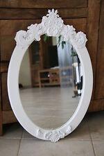 SPIEGEL Wandspiegel Wanddeko Shabby Stil Holz Ornament weiß Oval Barock Stil