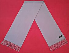 VINTAGE SOLID LIGHT BLUE CASHMERE WOOL LONG MEN'S FRINGE SCARF