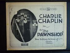 1916 THE PAWNSHOP - RARE R1920s TITLE LOBBY CARD - CHARLIE CHAPLIN SILENT COMEDY