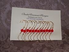 CHRISTMAS HOLIDAY ORNAMENT HOOKS/ HANGERS...12 RED FACETED ROUND BEADS (F2)