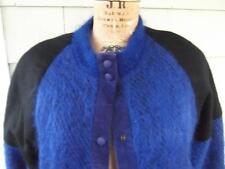 Vtg 80s purple blueberry black mohair leather boho coat med