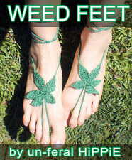 Hand crochet barefoot WEED FEET sandals - marijuana, boho, beach, hippie, doof