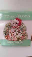 Fitz and Floyd Kitty Kringle Canape Plate Christmas Decor Table Ware New In Box