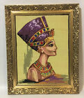 """Vintage Fine Needlepoint Tapestry~Portrait Egyptian Queen~Beautifully Framed~22"""""""