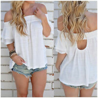Fashion Women Off Shoulder Blouse Short Sleeve Casual Loose Shirt Summer Tops