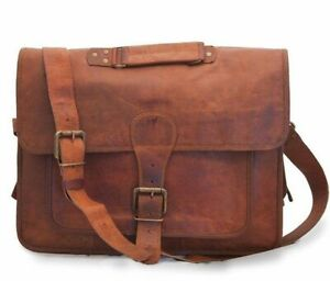 Women Original Durable Handmade Large Satchel Real Brown Leather Computer Bag