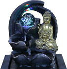 Crystal Ball Buddha Indoor Water Fountain Garden Water Feature Led Lights Statue