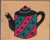 "tea pot thats all she stamped Wood Mounted Rubber Stamp 1 1/2 x 1 1/2"" free ship"