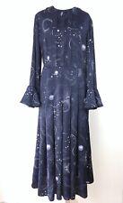 M&S Limited Edition Navy Blue Constellation Moon Stars Galaxy Midi Dress 10 UK
