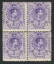 ESPAÑA 1909 - EDIFIL 270** - BLOQUE DE 4 - ALFONSO XIII - TIPO MEDALLÓN - MNH