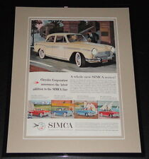 1959 Chrysler Simca 11x14 Framed ORIGINAL Vintage Advertisement Poster