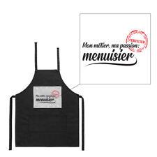 Tablier noir de cuisine barbecue métier passion menuisier imprimé