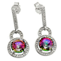 black friday sale rainbow topaz 925 silver dangle earrings wholesale jewelry
