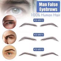 Hommes Haute Qualité 100% Humains Cheveux Dentelle Base Faux Sourcils Extensions