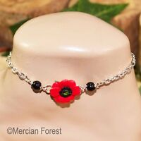 Poppy Anklet - Handmade Polymer Clay Jewellery - Summer Solstice Litha Pagan