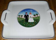 V&B VILLEROY & BOCH NAIF WEDDING ECKIG KUCHENTELLER-CAKE PLATE SQUARE CA.23 X 20